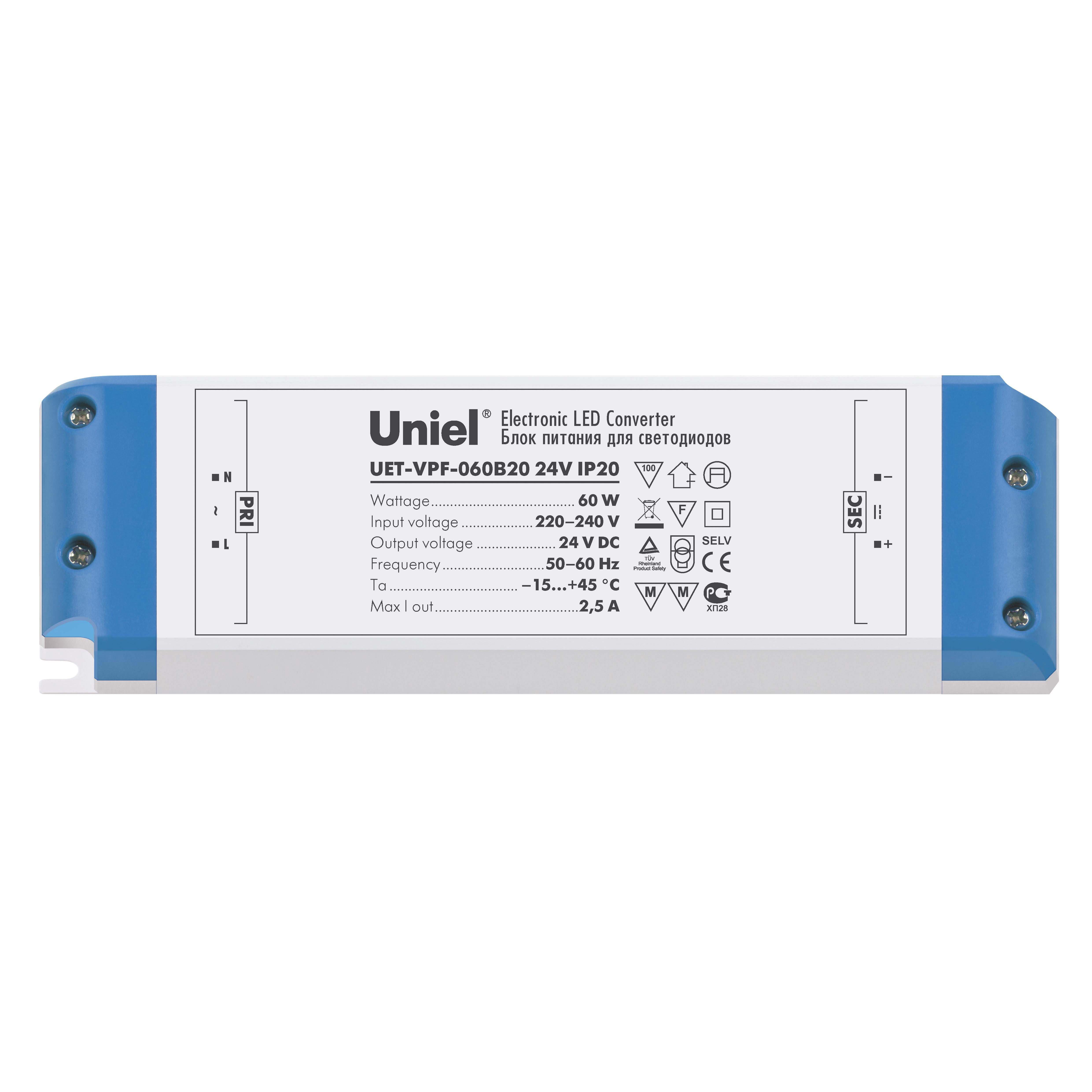 Блок питания UnielАксессуары для электромонтажа<br>Тип аксессуара: блок питания,<br>Степень защиты от пыли и влаги: IP 20,<br>Сила тока: 2500,<br>Максимальная подключаемая мощность: 60,<br>Напряжение: 24<br>