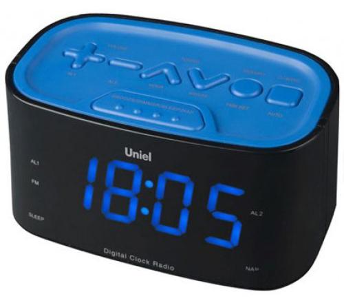 Часы-радио UnielЧасы<br>Тип: часы-радио,<br>Тип часов: кварцевый,<br>Форма: прямоугольная,<br>Размеры: 140х65х60,<br>Напряжение: 220,<br>Дисплей: есть,<br>Цвет: черный<br>