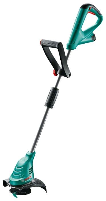 Триммер BoschТриммеры<br>Обороты: 10500,<br>Ширина обработки: 23,<br>Штанга: прямая,<br>Форма ручки: D-образная,<br>Разъемная штанга: нет,<br>Расположение двигателя: нижнее,<br>Тип режущего инструмента: диск/нож,<br>Питание от аккумулятора: есть,<br>Аккумулятор: 10.8,<br>Тип аккумулятора: LiION,<br>Емкость аккумулятора: 2,<br>Вес нетто: 1.9<br>
