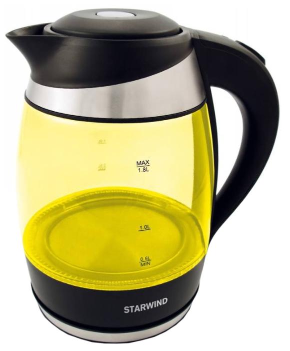 Чайник StarwindЧайники и термопоты<br>Тип: электрочайник,<br>Мощность: 2200,<br>Объем: 1.8,<br>Цвет: желтый,<br>Нагревательный элемент: спиральный,<br>Материал: стекло,<br>Фильтр: есть,<br>Индикация заполнения: есть,<br>Световая индикация: есть,<br>Защита от включения без воды: есть<br>