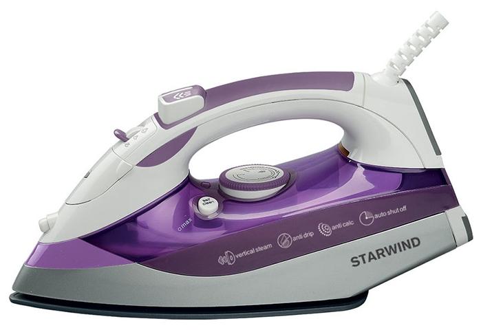 Утюг StarwindУтюги<br>Мощность: 2500,<br>Материал подошвы: керамика,<br>Постоянная подача пара: есть,<br>Паровой удар: есть,<br>Вертикальное отпаривание: есть,<br>Функция разбрызгивания: есть,<br>Объем резервуара для воды: 0.3,<br>Автоотключение: есть,<br>Система защиты от накипи: есть,<br>Система самоочистки: есть,<br>Противокапельная система: есть<br>