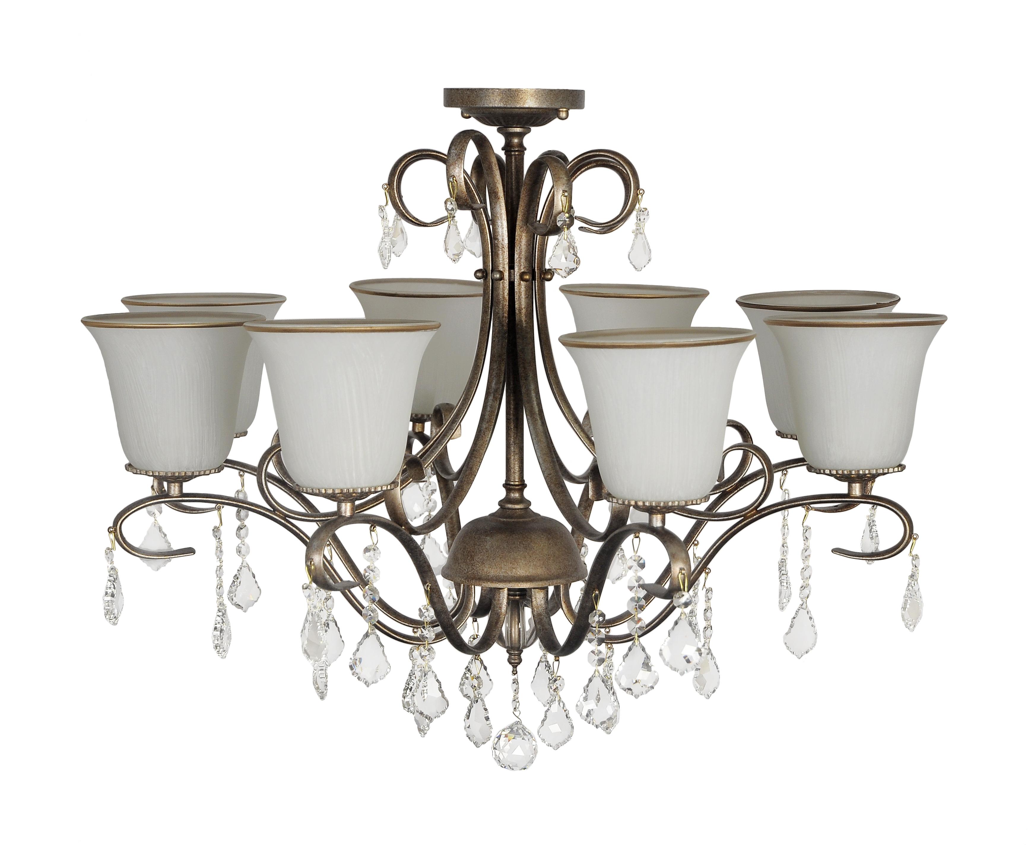 Люстра Arti lampadariЛюстры<br>Назначение светильника: для комнаты,<br>Стиль светильника: классика,<br>Материал плафона: стекло, хрусталь,<br>Материал арматуры: металл,<br>Диаметр: 600,<br>Высота: 700,<br>Количество ламп: 8,<br>Тип лампы: накаливания,<br>Мощность: 60,<br>Патрон: Е27,<br>Цвет арматуры: золото<br>