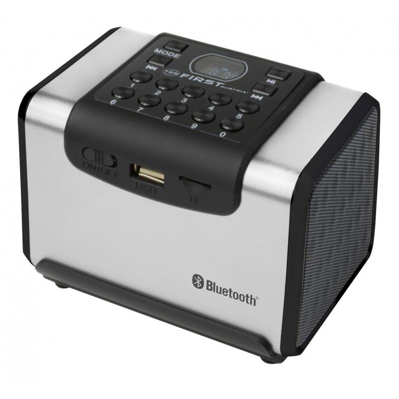 Радио FirstМагнитолы и радио<br>Тип: радиоприемник,<br>Конфигурация: 2.0,<br>Тип акустической системы: активная,<br>Материал корпуса: пластик,<br>Линейный вход: есть,<br>Bluetooth: есть,<br>USB порт: есть,<br>Цвет: серый<br>