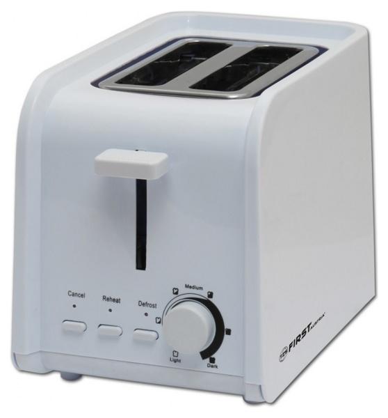 Тостер FirstТостеры<br>Тип: тостер,<br>Мощность: 750,<br>Количество отделений: 2,<br>Количество тостов: 2,<br>Кнопка отмены: есть,<br>Управление: механическое,<br>Регулировка степени обжаривания: есть,<br>Функция размораживания: есть,<br>Функция подогрева: есть,<br>Поддон для крошек: есть,<br>Материал корпуса: пластик<br>