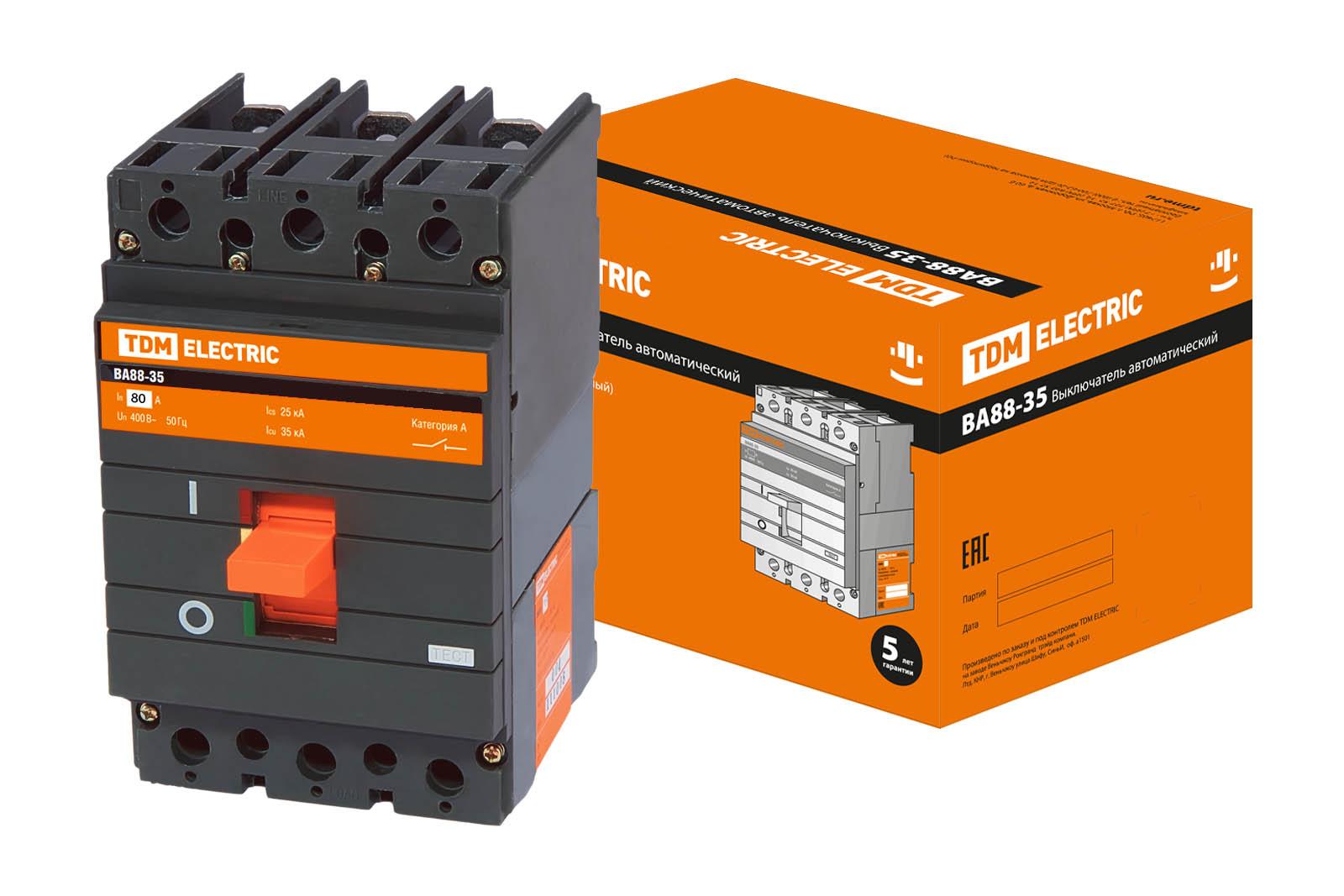 Автомат ТДМАвтоматические выключатели<br>Номинальный ток: 80,<br>Тип выключателя: автомат,<br>Количество полюсов: 3,<br>Степень защиты от пыли и влаги: IP 20<br>