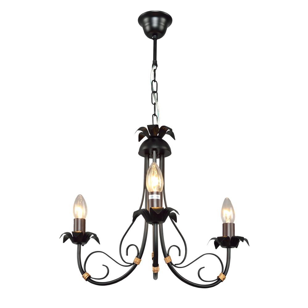 Люстра МАКСИСВЕТЛюстры<br>Назначение светильника: для гостиной,<br>Стиль светильника: ковка,<br>Тип: подвесная,<br>Материал светильника: металл,<br>Материал арматуры: металл,<br>Длина (мм): 480,<br>Ширина: 480,<br>Высота: 800,<br>Количество ламп: 3,<br>Тип лампы: накаливания и светодиодные,<br>Мощность: 180,<br>Патрон: Е14,<br>Цвет арматуры: черный,<br>Коллекция: 4305<br>