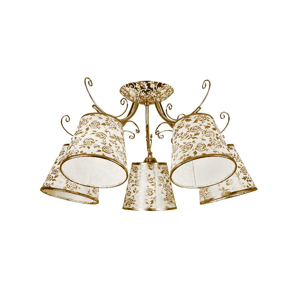 Люстра МАКСИСВЕТЛюстры<br>Назначение светильника: для комнаты,<br>Стиль светильника: классика,<br>Тип: потолочная,<br>Материал светильника: металл, акрил,<br>Материал плафона: акрил,<br>Материал арматуры: металл,<br>Длина (мм): 620,<br>Ширина: 620,<br>Высота: 300,<br>Количество ламп: 5,<br>Тип лампы: накаливания,<br>Мощность: 200,<br>Патрон: Е14,<br>Цвет арматуры: золото,<br>Коллекция: 1119<br>