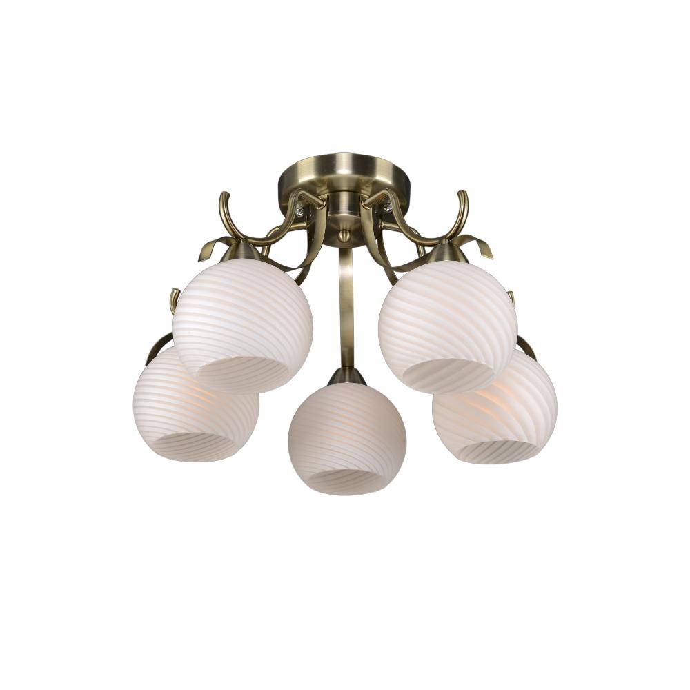 Люстра МАКСИСВЕТЛюстры<br>Назначение светильника: для комнаты, Стиль светильника: классика, Тип: потолочная, Материал светильника: металл, стекло, Материал плафона: стекло, Материал арматуры: металл, Длина (мм): 500, Ширина: 500, Высота: 290, Количество ламп: 5, Тип лампы: накаливания, Мощность: 300, Патрон: Е27, Цвет арматуры: бронза, Родина бренда: Россия, Коллекция: 8551<br>