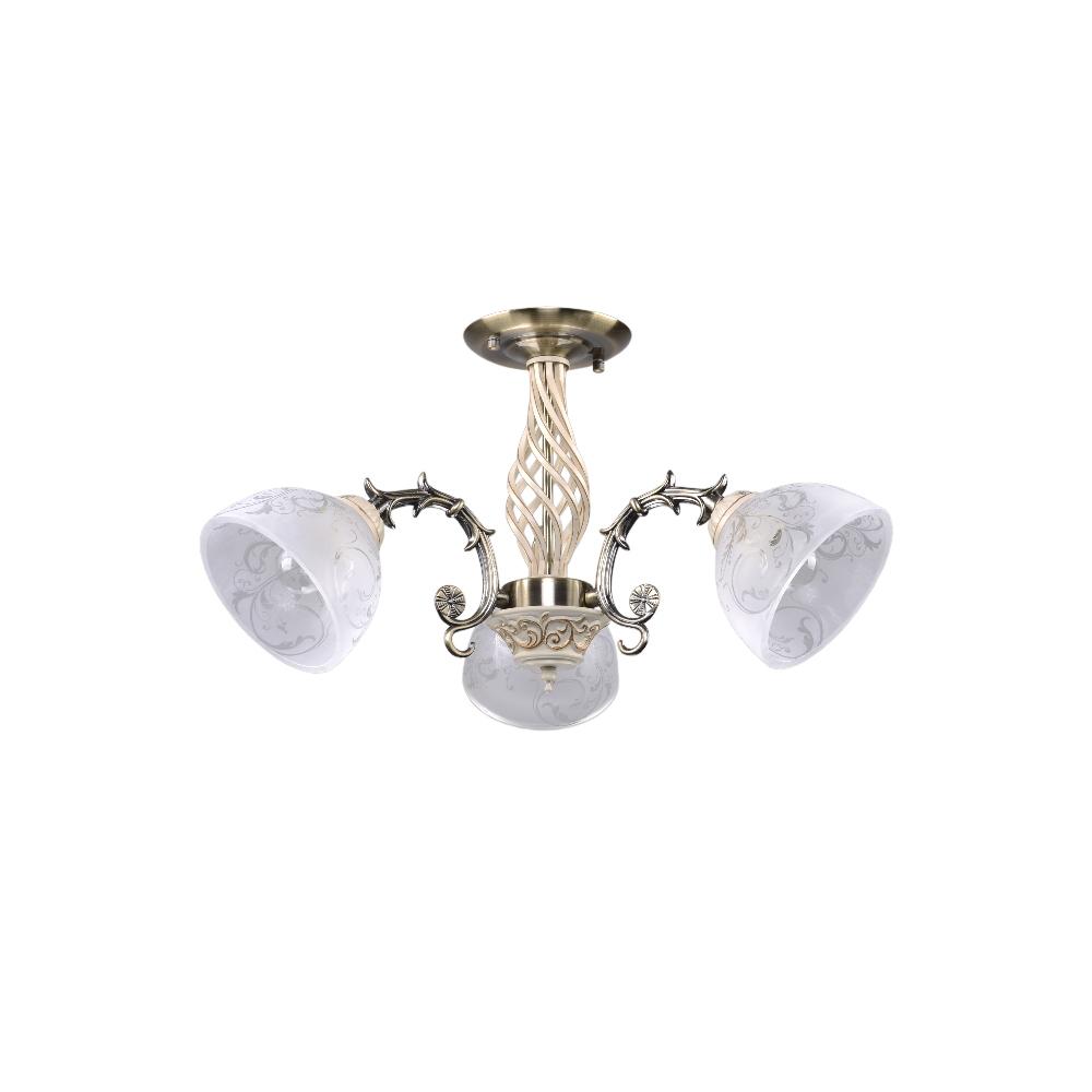Люстра МАКСИСВЕТЛюстры<br>Назначение светильника: для комнаты,<br>Стиль светильника: классика,<br>Тип: потолочная,<br>Материал светильника: металл, стекло,<br>Материал плафона: стекло,<br>Материал арматуры: металл,<br>Длина (мм): 550,<br>Ширина: 530,<br>Высота: 380,<br>Количество ламп: 3,<br>Тип лампы: накаливания,<br>Мощность: 180,<br>Патрон: Е27,<br>Цвет арматуры: бронза<br>