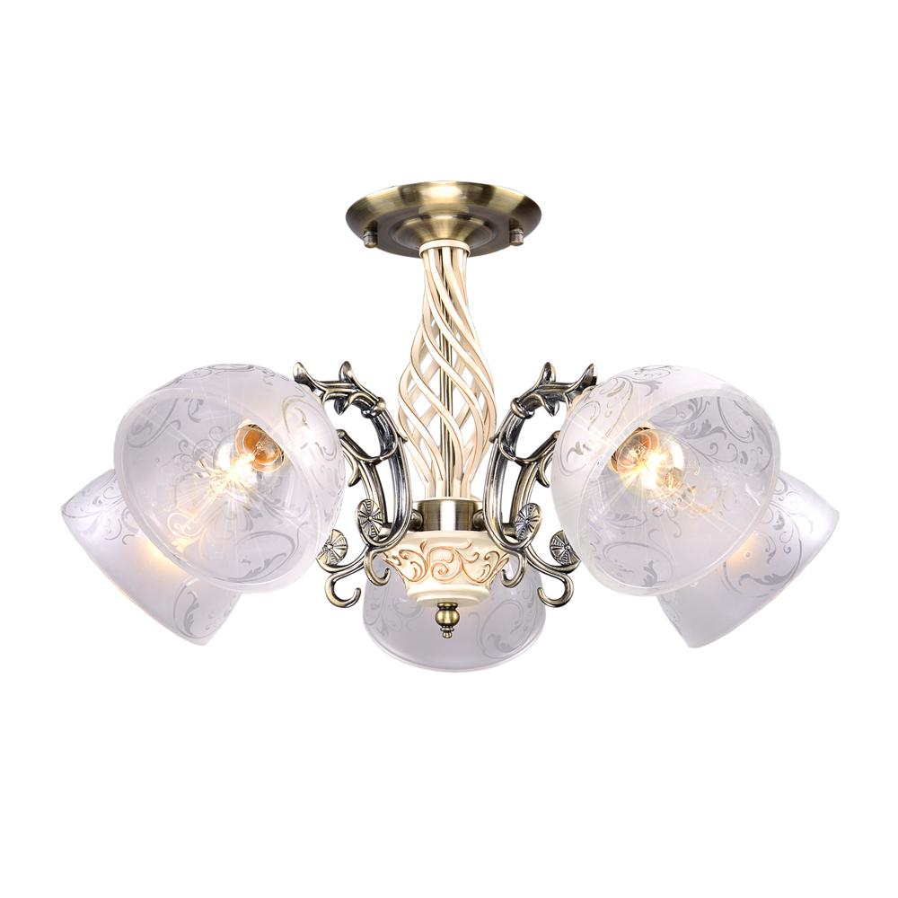 Люстра МАКСИСВЕТЛюстры<br>Назначение светильника: для комнаты,<br>Стиль светильника: классика,<br>Тип: потолочная,<br>Материал светильника: металл, стекло,<br>Материал плафона: стекло,<br>Материал арматуры: металл,<br>Длина (мм): 600,<br>Ширина: 600,<br>Высота: 320,<br>Количество ламп: 5,<br>Тип лампы: накаливания,<br>Мощность: 300,<br>Патрон: Е27,<br>Цвет арматуры: бронза,<br>Коллекция: 9198<br>