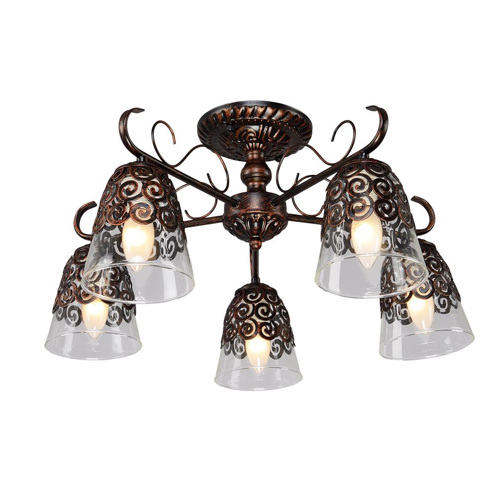 Люстра МАКСИСВЕТЛюстры<br>Назначение светильника: для комнаты,<br>Стиль светильника: классика,<br>Тип: потолочная,<br>Материал светильника: металл, стекло,<br>Материал плафона: стекло,<br>Материал арматуры: металл,<br>Длина (мм): 555,<br>Ширина: 555,<br>Высота: 280,<br>Количество ламп: 5,<br>Тип лампы: накаливания,<br>Мощность: 300,<br>Патрон: Е14,<br>Цвет арматуры: коричневый,<br>Коллекция: 9375<br>