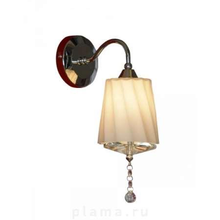 Бра LussoleНастенные светильники и бра<br>Тип: бра, Назначение светильника: для комнаты, Стиль светильника: классика, Материал светильника: металл, стекло, Тип лампы: галогенная, Количество ламп: 1, Мощность: 40, Патрон: G9, Цвет арматуры: хром, Длина (мм): 230, Ширина: 120, Удаление от стены: 190<br>