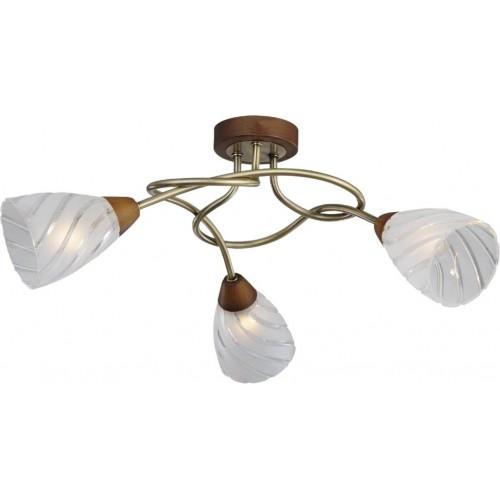 Люстра LgoЛюстры<br>Назначение светильника: для комнаты,<br>Стиль светильника: классика,<br>Тип: потолочная,<br>Материал светильника: металл, стекло,<br>Материал плафона: стекло,<br>Материал арматуры: металл,<br>Ширина: 650,<br>Высота: 250,<br>Количество ламп: 3,<br>Тип лампы: накаливания,<br>Мощность: 40,<br>Патрон: Е14,<br>Цвет арматуры: бронза<br>