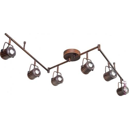 Спот LoftСпоты<br>Тип: спот, Стиль светильника: стимпанк, Материал светильника: метлалл, Количество ламп: 6, Тип лампы: галогенная, Мощность: 50, Патрон: GU10, Цвет арматуры: бронза, Ширина: 140, Высота: 260<br>