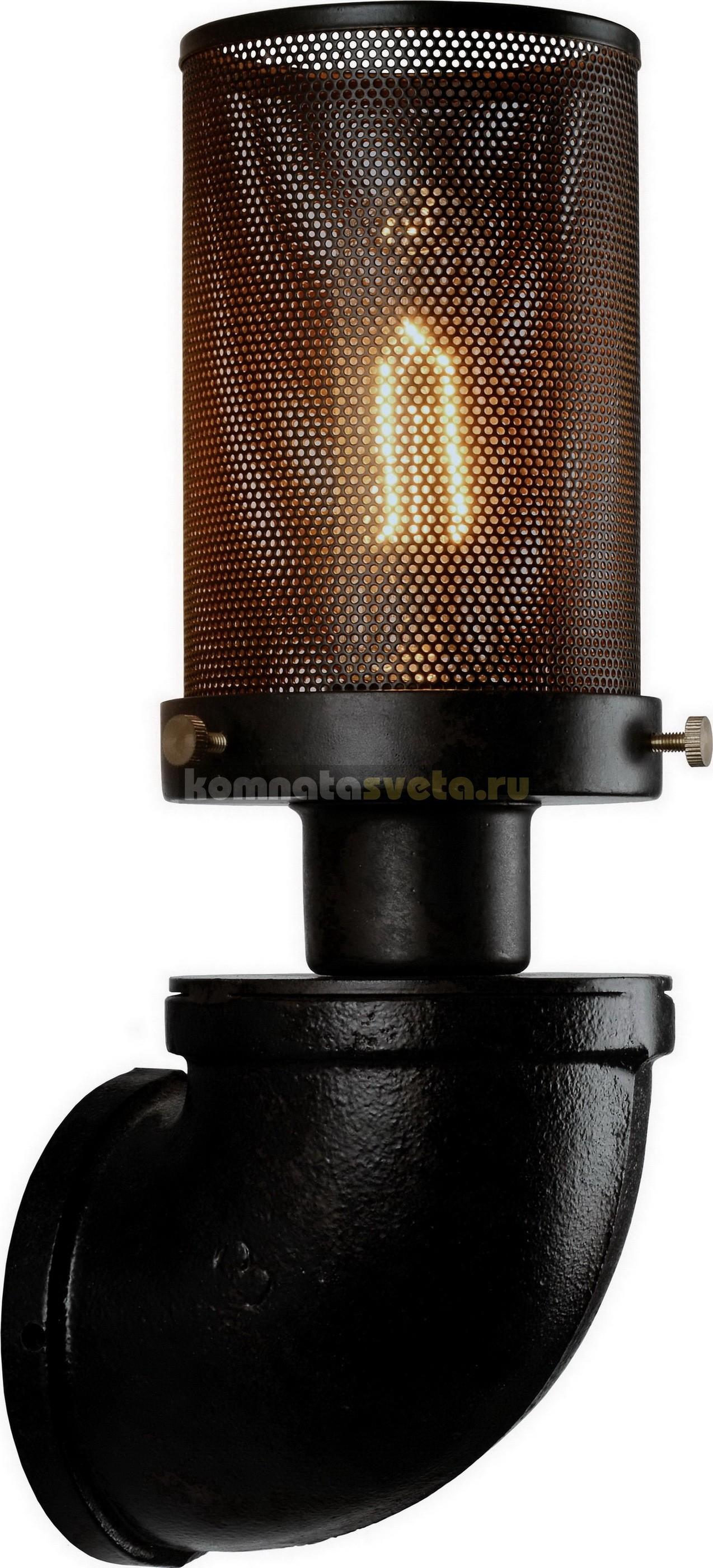 Бра LoftНастенные светильники и бра<br>Тип: бра,<br>Назначение светильника: для комнаты,<br>Стиль светильника: стимпанк,<br>Материал светильника: металл, стекло,<br>Тип лампы: накаливания,<br>Количество ламп: 1,<br>Мощность: 60,<br>Патрон: Е27,<br>Цвет арматуры: черный,<br>Длина (мм): 300,<br>Ширина: 100,<br>Удаление от стены: 110<br>