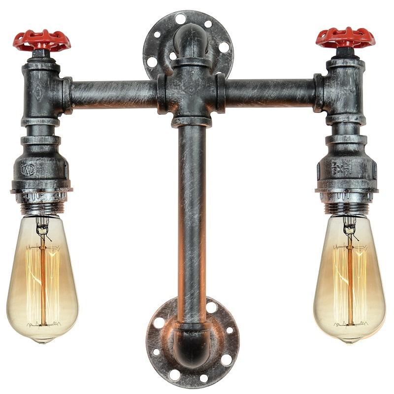 Светильник настенный LoftНастенные светильники и бра<br>Тип: настенный,<br>Назначение светильника: для комнаты,<br>Стиль светильника: стимпанк,<br>Материал светильника: металл, стекло,<br>Тип лампы: накаливания,<br>Количество ламп: 2,<br>Мощность: 60,<br>Патрон: Е27,<br>Цвет арматуры: черный,<br>Длина (мм): 430,<br>Ширина: 400,<br>Удаление от стены: 110<br>