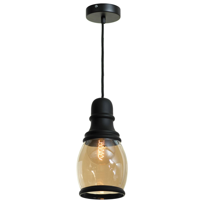 Светильник подвесной LoftСветильники подвесные<br>Количество ламп: 1,<br>Мощность: 60,<br>Назначение светильника: подвесной,<br>Стиль светильника: стимпанк,<br>Материал светильника: металл, стекло,<br>Высота: 1500,<br>Ширина: 110,<br>Тип лампы: накаливания,<br>Патрон: Е27,<br>Цвет арматуры: черный<br>