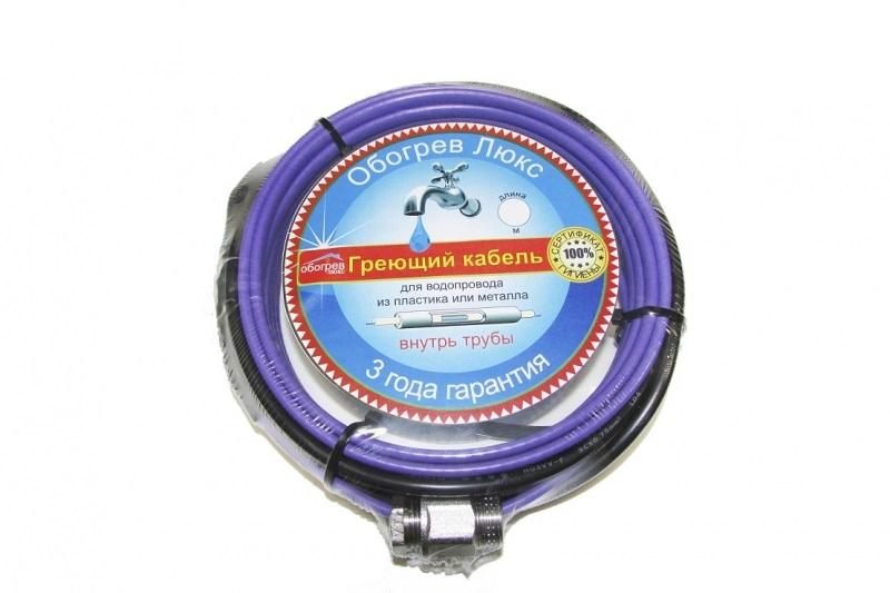 Греющий кабель ОБОГРЕВ ЛЮКСАрматура для труб<br>Назначение арматуры: обогрев трубы, Длина (мм): 10000<br>