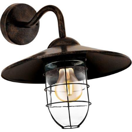 Светильник уличный EgloСветильники уличные<br>Мощность: 40,<br>Тип установки: настенный,<br>Стиль светильника: модерн,<br>Количество ламп: 1,<br>Тип лампы: накаливания,<br>Патрон: Е27,<br>Цвет арматуры: коричневый<br>