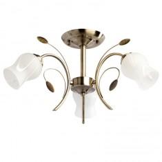Люстра Demarkt cityЛюстры<br>Назначение светильника: для комнаты, Стиль светильника: флористика, Тип: потолочная, Материал светильника: металл, Материал плафона: стекло, Материал арматуры: металл, Длина (мм): 350, Ширина: 450, Диаметр: 600, Высота: 260, Количество ламп: 3, Тип лампы: накаливания, Мощность: 60, Патрон: Е14, Цвет арматуры: бронза, Родина бренда: Германия, Коллекция: Флора<br>