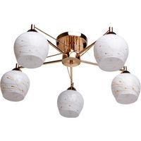 Люстра Demarkt cityЛюстры<br>Назначение светильника: для спальни, Стиль светильника: современный, Тип: потолочная, Материал светильника: металл, Материал плафона: стекло, Материал арматуры: металл, Длина (мм): 190, Ширина: 540, Диаметр: 660, Высота: 250, Количество ламп: 5, Тип лампы: накаливания, Мощность: 60, Патрон: Е27, Цвет арматуры: золото, Родина бренда: Германия, Коллекция: Грация<br>
