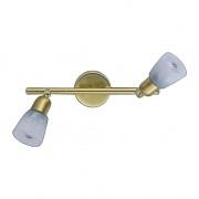 Спот Demarkt cityСпоты<br>Тип: спот,<br>Стиль светильника: модерн,<br>Материал светильника: металл, стекло,<br>Количество ламп: 2,<br>Тип лампы: накаливания,<br>Мощность: 40,<br>Патрон: Е14,<br>Цвет арматуры: золото,<br>Диаметр: 46,<br>Ширина: 220,<br>Длина (мм): 220,<br>Высота: 120,<br>Коллекция: Мона<br>