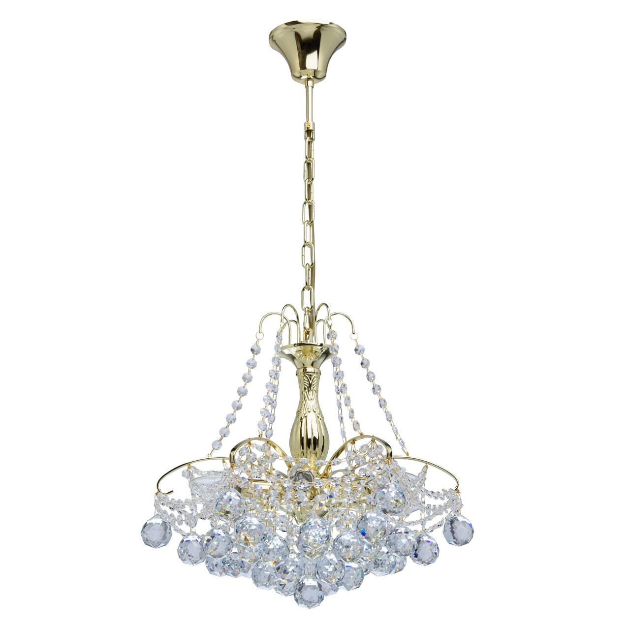 Люстра Mw lightЛюстры<br>Назначение светильника: для спальни, Стиль светильника: классика, Тип: потолочная, Материал светильника: металл, хрусталь, Материал плафона: хрусталь, Материал арматуры: металл, Длина (мм): 440, Ширина: 400, Высота: 800, Количество ламп: 6, Тип лампы: накаливания, Мощность: 60, Патрон: Е14, Цвет арматуры: золото, Родина бренда: Германия, Коллекция: Жемчуг<br>