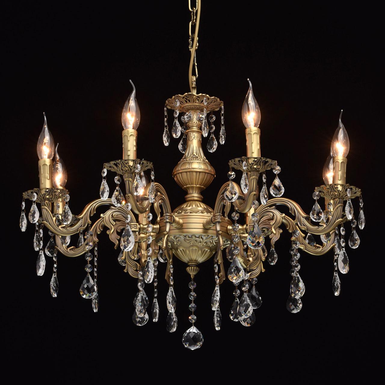 Люстра Mw lightЛюстры<br>Назначение светильника: для спальни,<br>Стиль светильника: классика,<br>Тип: подвесная,<br>Материал светильника: металл, хрусталь,<br>Материал плафона: хрусталь,<br>Материал арматуры: металл,<br>Длина (мм): 440,<br>Ширина: 300,<br>Высота: 1000,<br>Количество ламп: 8,<br>Тип лампы: накаливания,<br>Мощность: 60,<br>Патрон: Е14,<br>Цвет арматуры: бронза,<br>Коллекция: Свеча<br>