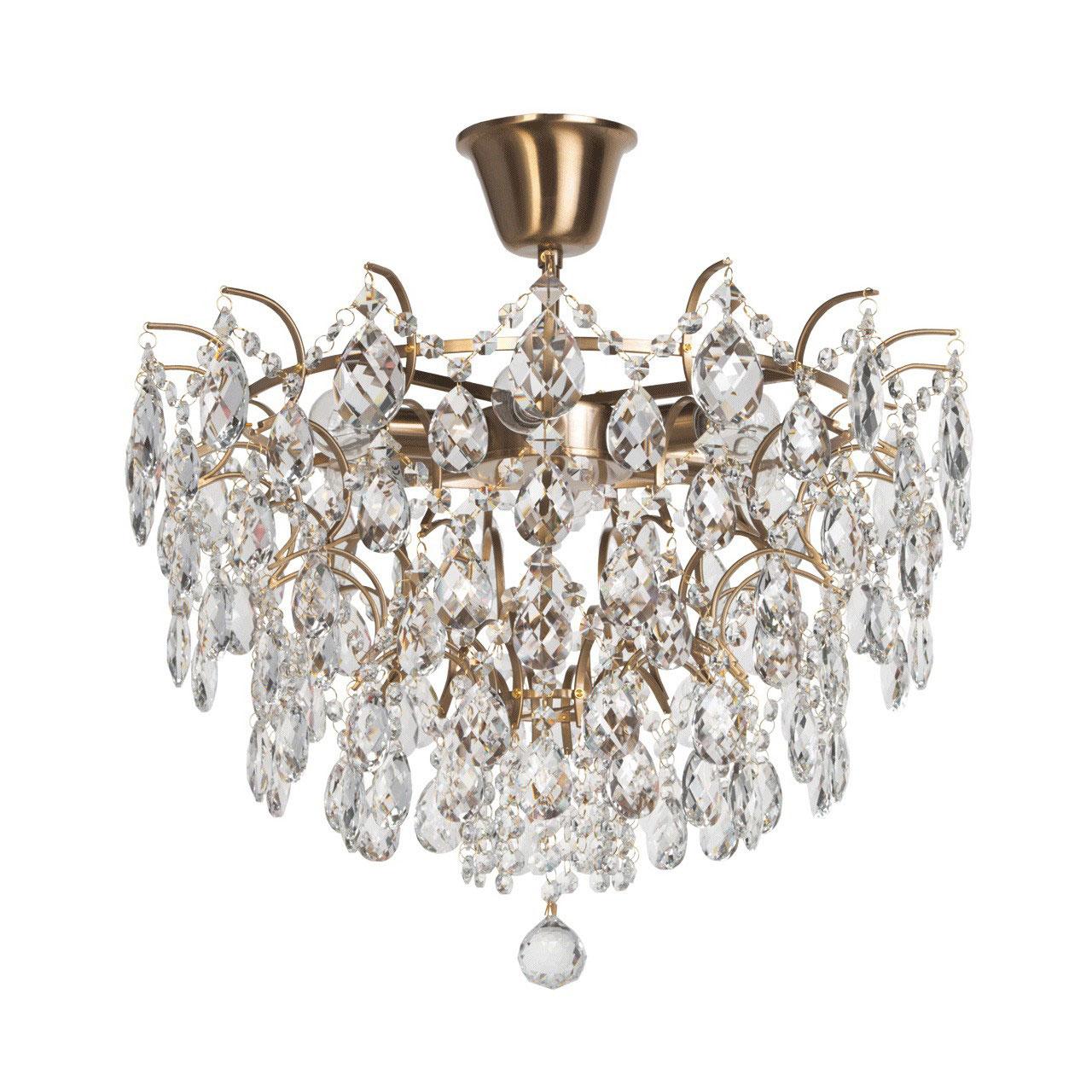 Люстра Mw lightЛюстры<br>Назначение светильника: для спальни, Стиль светильника: классика, Тип: потолочная, Материал светильника: металл, хрусталь, Материал плафона: хрусталь, Материал арматуры: металл, Длина (мм): 540, Ширина: 540, Высота: 520, Количество ламп: 6, Тип лампы: накаливания, Мощность: 60, Патрон: Е14, Цвет арматуры: бронза, Родина бренда: Германия, Коллекция: Изабелла<br>
