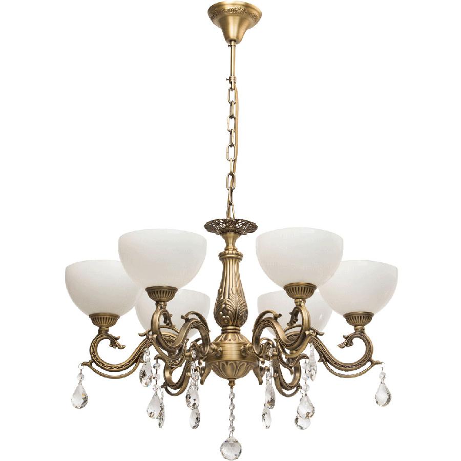 Люстра Mw lightЛюстры<br>Назначение светильника: для спальни, Стиль светильника: классика, Тип: подвесная, Материал светильника: металл, стекло, Материал плафона: стекло, Материал арматуры: металл, Длина (мм): 450, Ширина: 410, Высота: 870, Количество ламп: 6, Тип лампы: накаливания, Мощность: 40, Патрон: Е14, Цвет арматуры: бронза, Родина бренда: Германия, Коллекция: Аманда<br>
