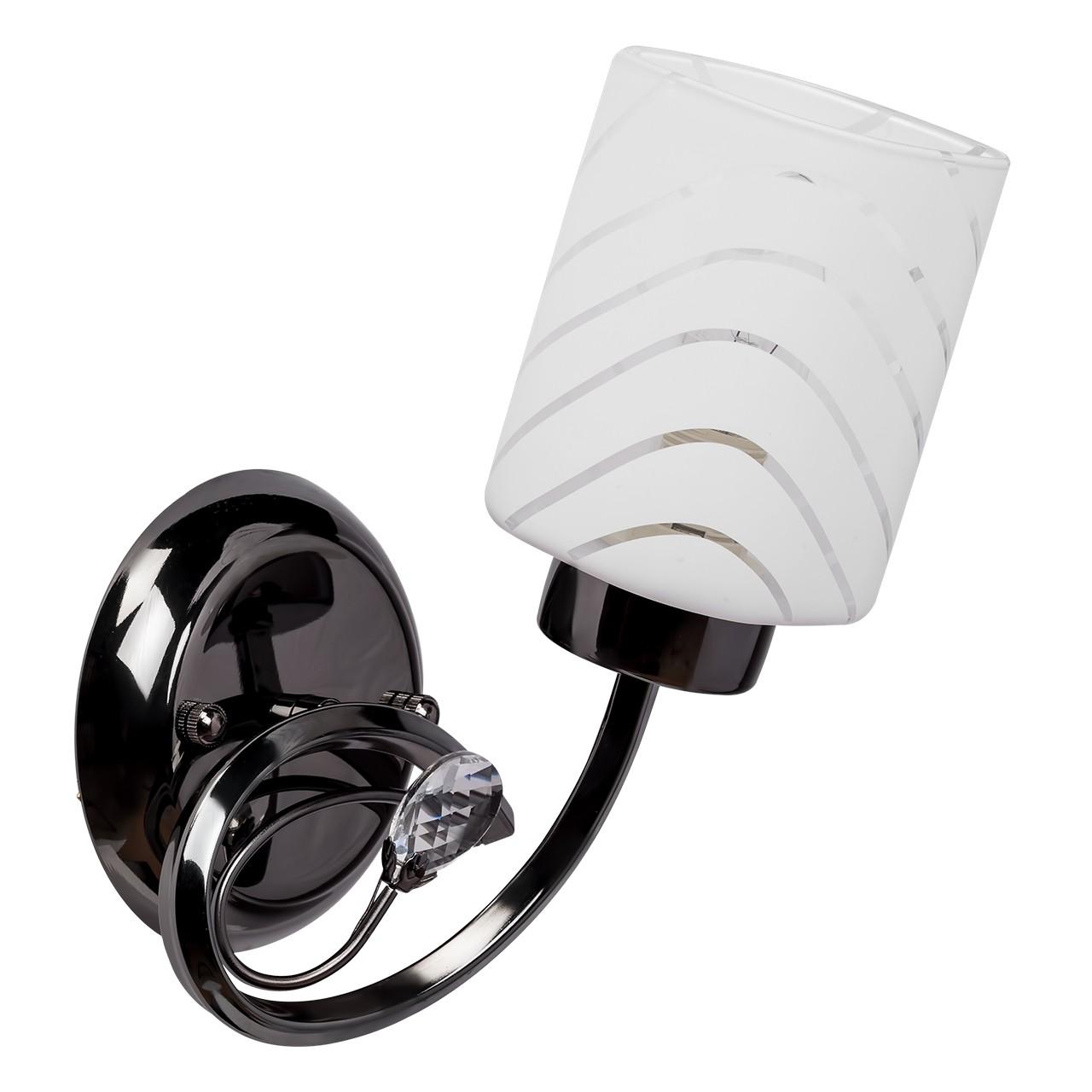 Бра Mw lightНастенные светильники и бра<br>Тип: бра, Назначение светильника: для спальни, Стиль светильника: классика, Материал светильника: металл, стекло, Тип лампы: накаливания, Количество ламп: 1, Мощность: 60, Патрон: Е14, Цвет арматуры: никель, Длина (мм): 280, Ширина: 140, Высота: 140, Коллекция: Олимпия<br>