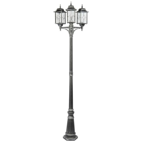 Светильник уличный Mw lightСветильники уличные<br>Мощность: 95,<br>Тип установки: фонарь,<br>Стиль светильника: современный,<br>Материал светильника: металл, стекло,<br>Количество ламп: 3,<br>Тип лампы: накаливания,<br>Патрон: Е27,<br>Степень защиты от пыли и влаги: IP 44,<br>Цвет арматуры: черный,<br>Диаметр: 600,<br>Длина (мм): 760,<br>Ширина: 290,<br>Высота: 2250,<br>Коллекция: Бургос<br>