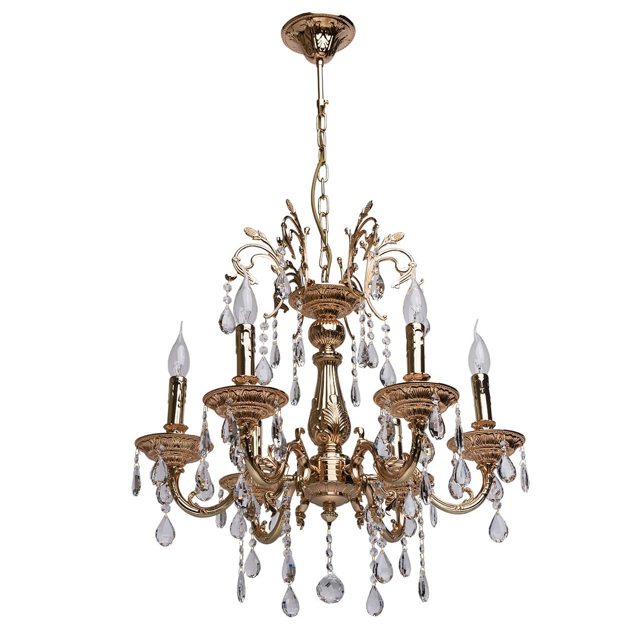 Люстра Mw lightЛюстры<br>Назначение светильника: для спальни, Стиль светильника: классика, Тип: подвесная, Материал светильника: металл, хрусталь, Материал плафона: хрусталь, Материал арматуры: металл, Длина (мм): 450, Ширина: 360, Высота: 930, Количество ламп: 6, Тип лампы: накаливания, Мощность: 60, Патрон: Е14, Цвет арматуры: золото, Родина бренда: Германия, Коллекция: Свеча<br>