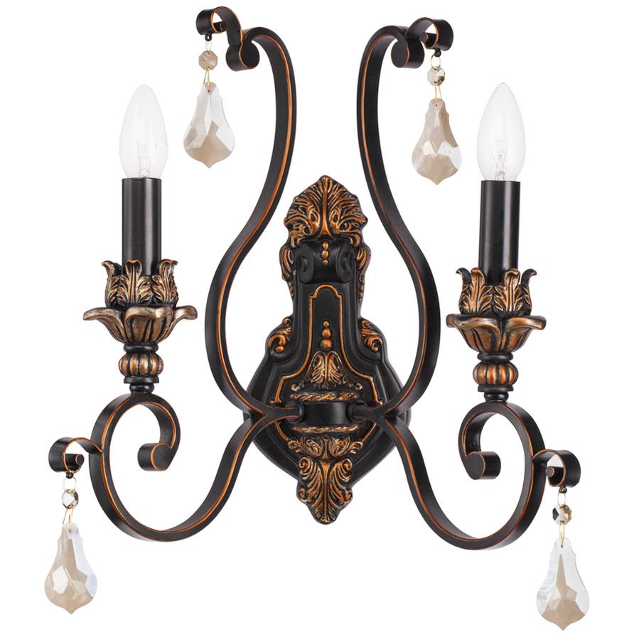 Бра ChiaroНастенные светильники и бра<br>Тип: бра,<br>Назначение светильника: для комнаты,<br>Стиль светильника: классика,<br>Материал светильника: металл, стекло, хрусталь,<br>Тип лампы: накаливания,<br>Количество ламп: 2,<br>Мощность: 60,<br>Патрон: Е14,<br>Цвет арматуры: коричневый,<br>Длина (мм): 210,<br>Ширина: 590,<br>Высота: 320,<br>Коллекция: Версаче<br>