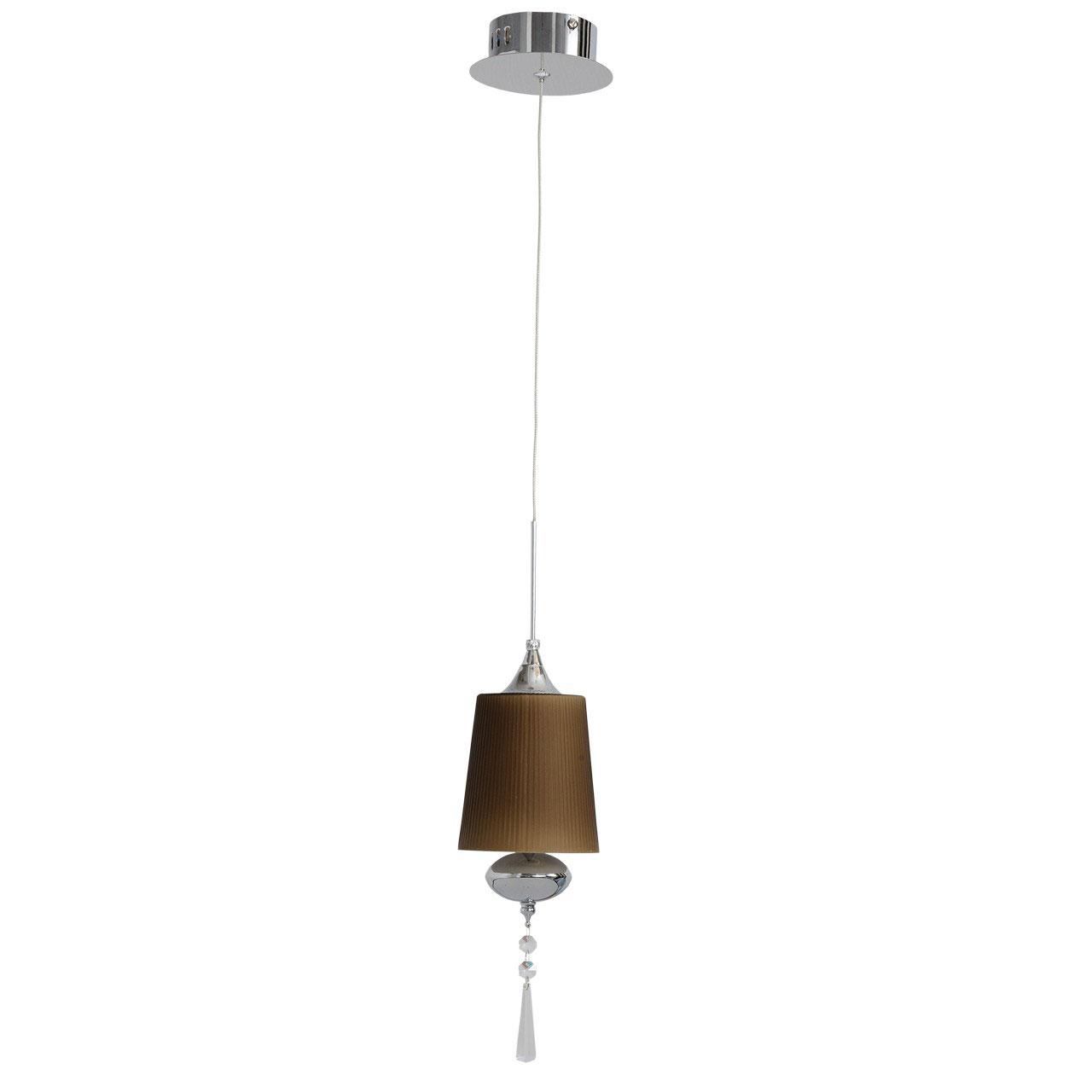 Люстра ChiaroЛюстры<br>Назначение светильника: для гостиной,<br>Длина (мм): 190,<br>Ширина: 190,<br>Высота: 1400,<br>Количество ламп: 1,<br>Тип лампы: галогенная,<br>Мощность: 20,<br>Патрон: G4,<br>Цвет арматуры: хром,<br>Коллекция: Фьюжен<br>