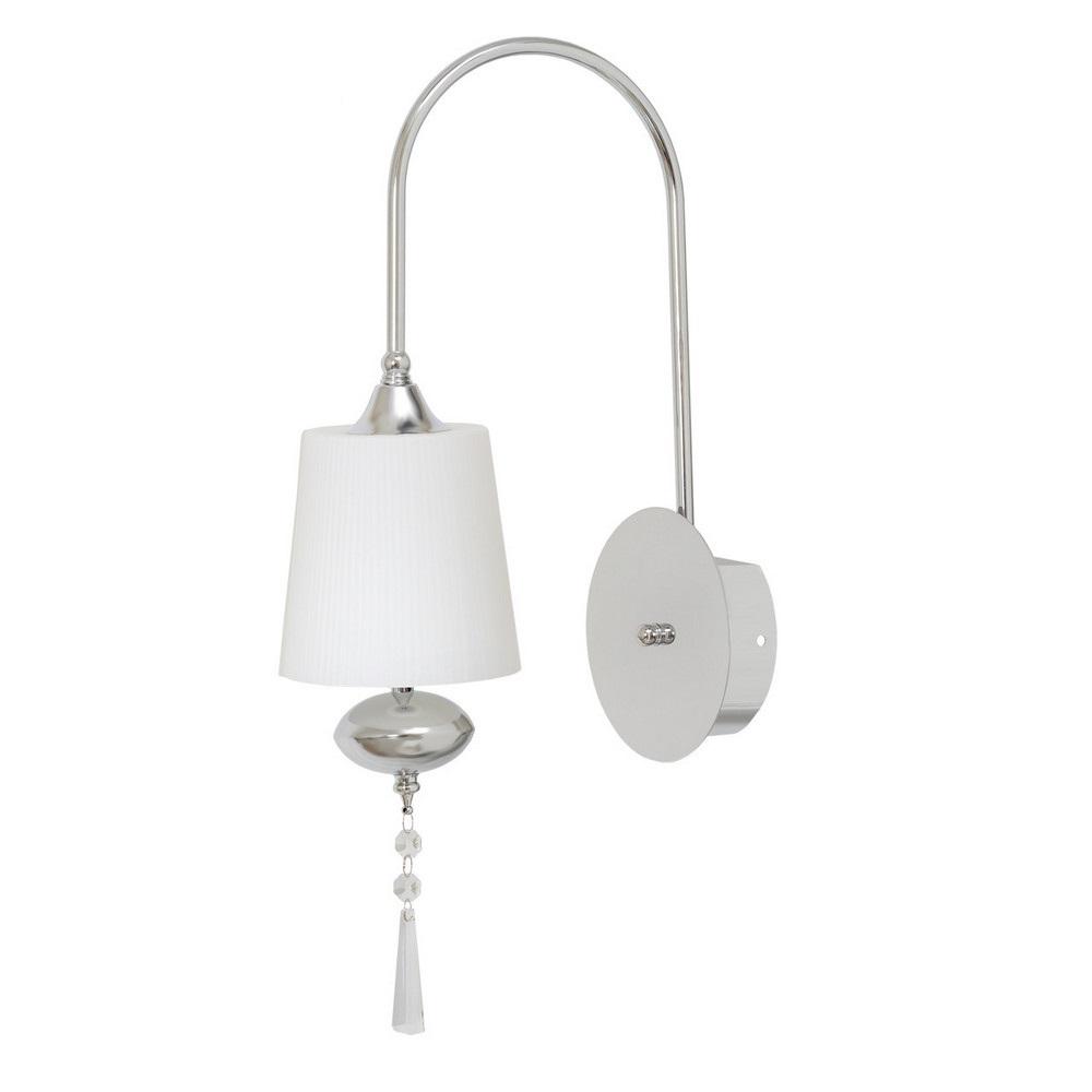 Бра ChiaroНастенные светильники и бра<br>Тип: бра, Назначение светильника: для комнаты, Стиль светильника: модерн, Материал светильника: металл, стекло, Тип лампы: галогенная, Количество ламп: 1, Мощность: 20, Патрон: G4, Цвет арматуры: хром, Длина (мм): 130, Ширина: 370, Высота: 240, Коллекция: Фьюжен<br>
