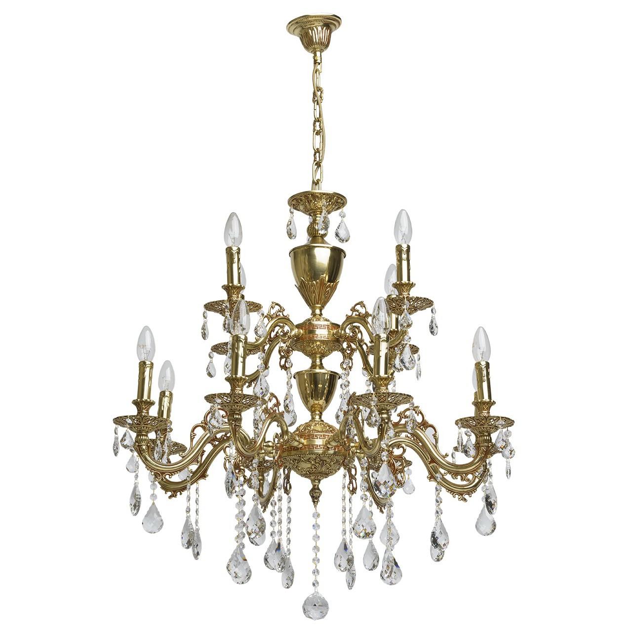 Люстра ChiaroЛюстры<br>Назначение светильника: для гостиной,<br>Стиль светильника: классика,<br>Тип: подвесная,<br>Материал плафона: ткань,<br>Материал арматуры: металл,<br>Длина (мм): 520,<br>Ширина: 500,<br>Высота: 1320,<br>Количество ламп: 12,<br>Тип лампы: накаливания,<br>Мощность: 60,<br>Патрон: Е14,<br>Цвет арматуры: медь,<br>Коллекция: Паула<br>