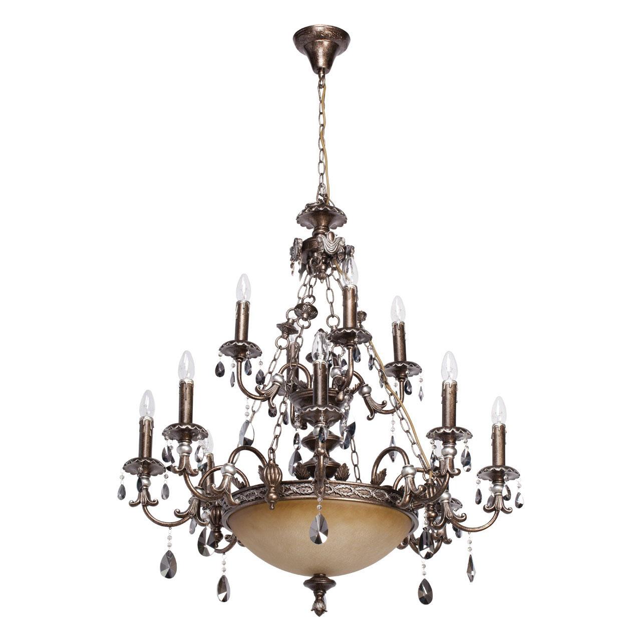 Люстра ChiaroЛюстры<br>Назначение светильника: для гостиной,<br>Стиль светильника: классика,<br>Тип: подвесная,<br>Материал плафона: стекло,<br>Материал арматуры: металл,<br>Длина (мм): 560,<br>Ширина: 560,<br>Высота: 2380,<br>Количество ламп: 14,<br>Тип лампы: накаливания,<br>Мощность: 60,<br>Патрон: Е27,<br>Цвет арматуры: коричневый,<br>Коллекция: Легионер<br>