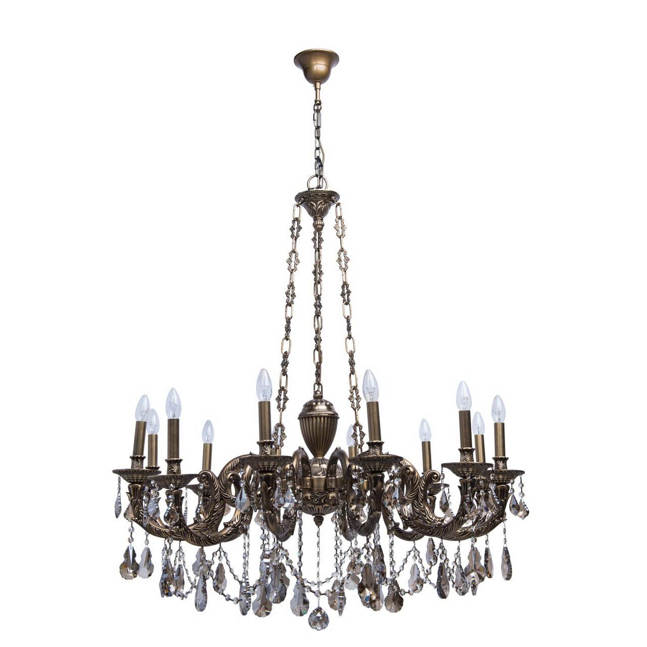 Люстра ChiaroЛюстры<br>Назначение светильника: для гостиной, Стиль светильника: классика, Тип: подвесная, Материал арматуры: металл, Длина (мм): 1070, Ширина: 1070, Высота: 2400, Количество ламп: 12, Тип лампы: накаливания, Мощность: 60, Патрон: Е14, Цвет арматуры: бронза, Родина бренда: Германия, Коллекция: Габриэль<br>