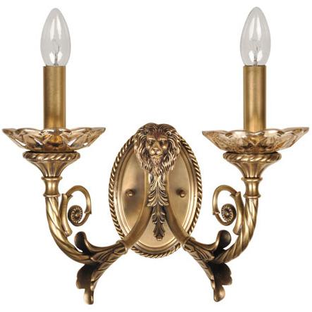 Бра ChiaroНастенные светильники и бра<br>Тип: бра, Назначение светильника: для спальни, Стиль светильника: классика, Материал светильника: металл, текстиль, хрусталь, Тип лампы: накаливания, Количество ламп: 2, Мощность: 40, Патрон: Е14, Цвет арматуры: латунь, Длина (мм): 370, Ширина: 270, Высота: 240, Коллекция: Габриэль<br>