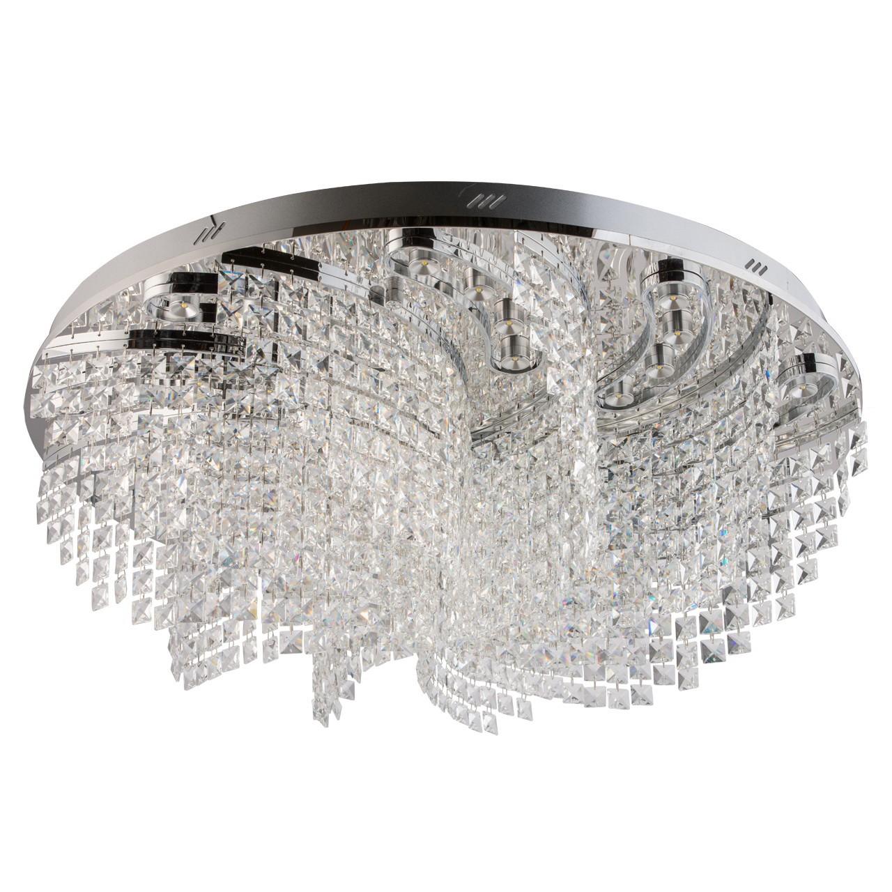 Люстра ChiaroЛюстры<br>Назначение светильника: для гостиной, Стиль светильника: хай-тек, Тип: потолочная, Материал плафона: стекло, Материал арматуры: металл, Длина (мм): 1100, Ширина: 1100, Высота: 250, Количество ламп: 72, Тип лампы: светодиодная, Мощность: 1, Патрон: LED, Цвет арматуры: хром, Родина бренда: Германия, Коллекция: Аделард<br>