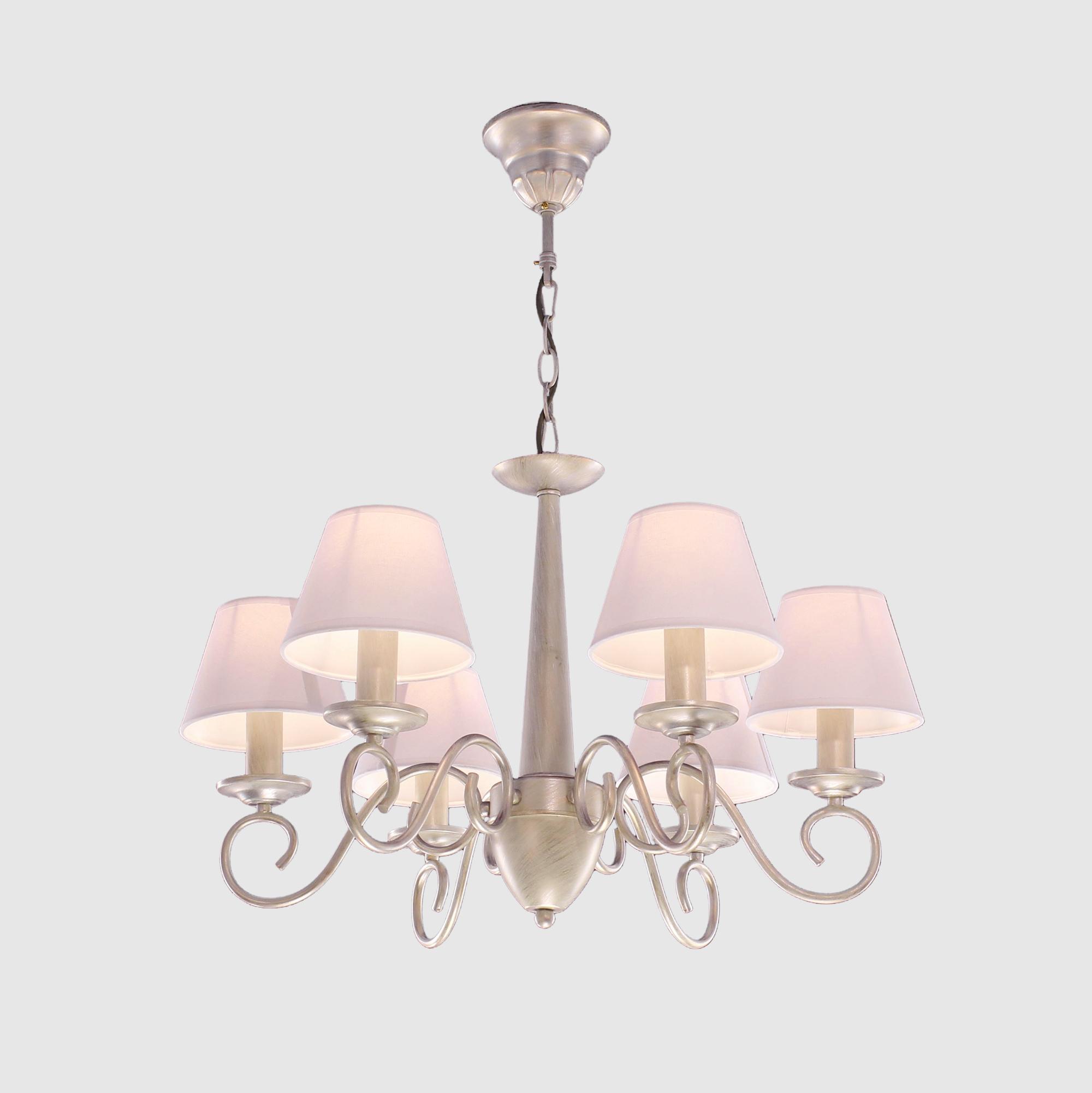 Люстра CitiluxЛюстры<br>Назначение светильника: для комнаты,<br>Стиль светильника: модерн,<br>Тип: подвесная,<br>Материал плафона: ткань,<br>Материал арматуры: металл,<br>Диаметр: 640,<br>Высота: 420,<br>Количество ламп: 6,<br>Тип лампы: накаливания,<br>Мощность: 60,<br>Патрон: Е14,<br>Коллекция: Ланселот<br>