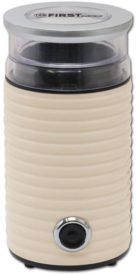 Кофемолка FirstКофемолки<br>Мощность: 160, Вместимость кофемолки: 65, Материал корпуса: пластик, Материал ножей: нерж.сталь<br>