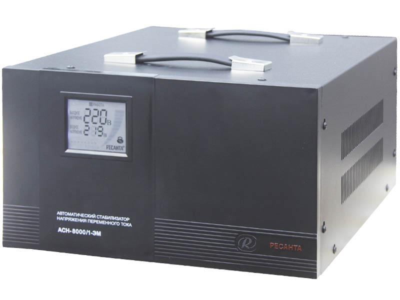 Стабилизатор напряжения РЕСАНТАСтабилизаторы и ИБП<br>Мощность полная: 8000,<br>Мощность: 10000,<br>Тип: однофазный стабилизатор,<br>Тип стабилизатора: электромеханический,<br>Тип установки: напольный,<br>Мин. входное напряжение: 140,<br>Макс. входное напряжение: 260,<br>Выходное напряжение: 220,<br>Дисплей: стрелочный,<br>Вес нетто: 23<br>