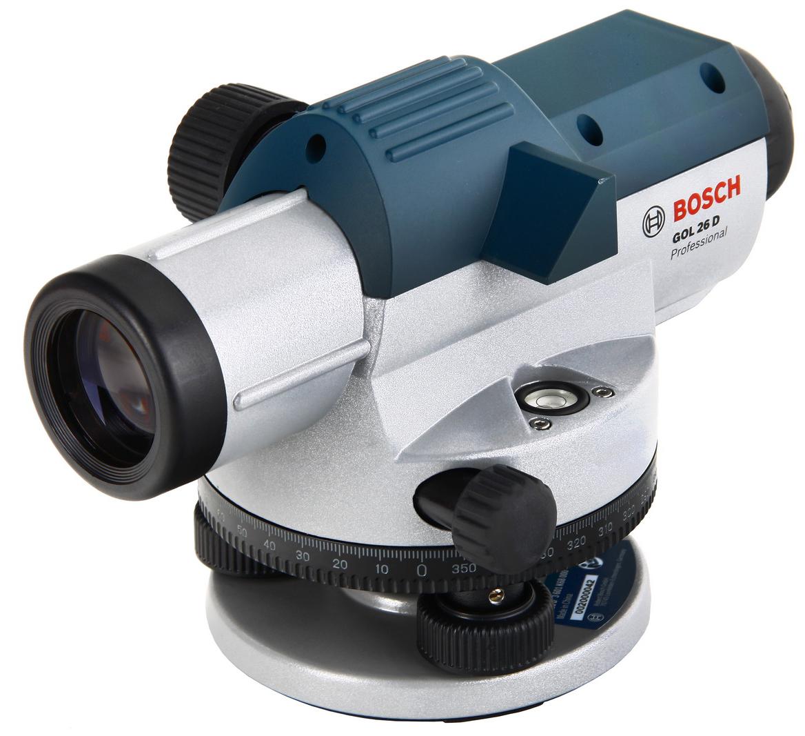 Нивелир оптический BoschНивелиры<br>Дальность: 100, Увеличение: 26, Диаметр объектива: 36, Погрешность нивелирования: 0.05, Резьба под штатив: 5/8  , Температура: от -10° до +50°, BOSCH Professional: есть, Вес нетто: 1.7, Поставляется в: кейсе<br>