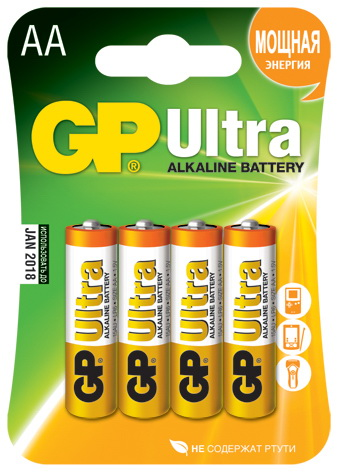Батарейка GpБатарейки, аккумуляторы и зарядные устройства<br>Напряжение: 1.5,<br>Тип: АА,<br>Вид: батарейка,<br>Количество в упаковке: 4<br>