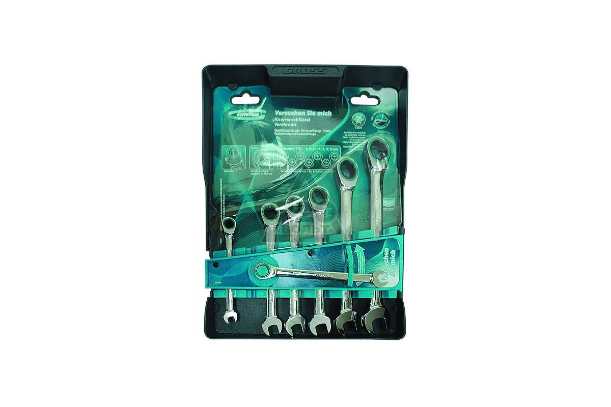 Набор  комбинированных гаечных ключей с трещоткой, 7 шт. Gross