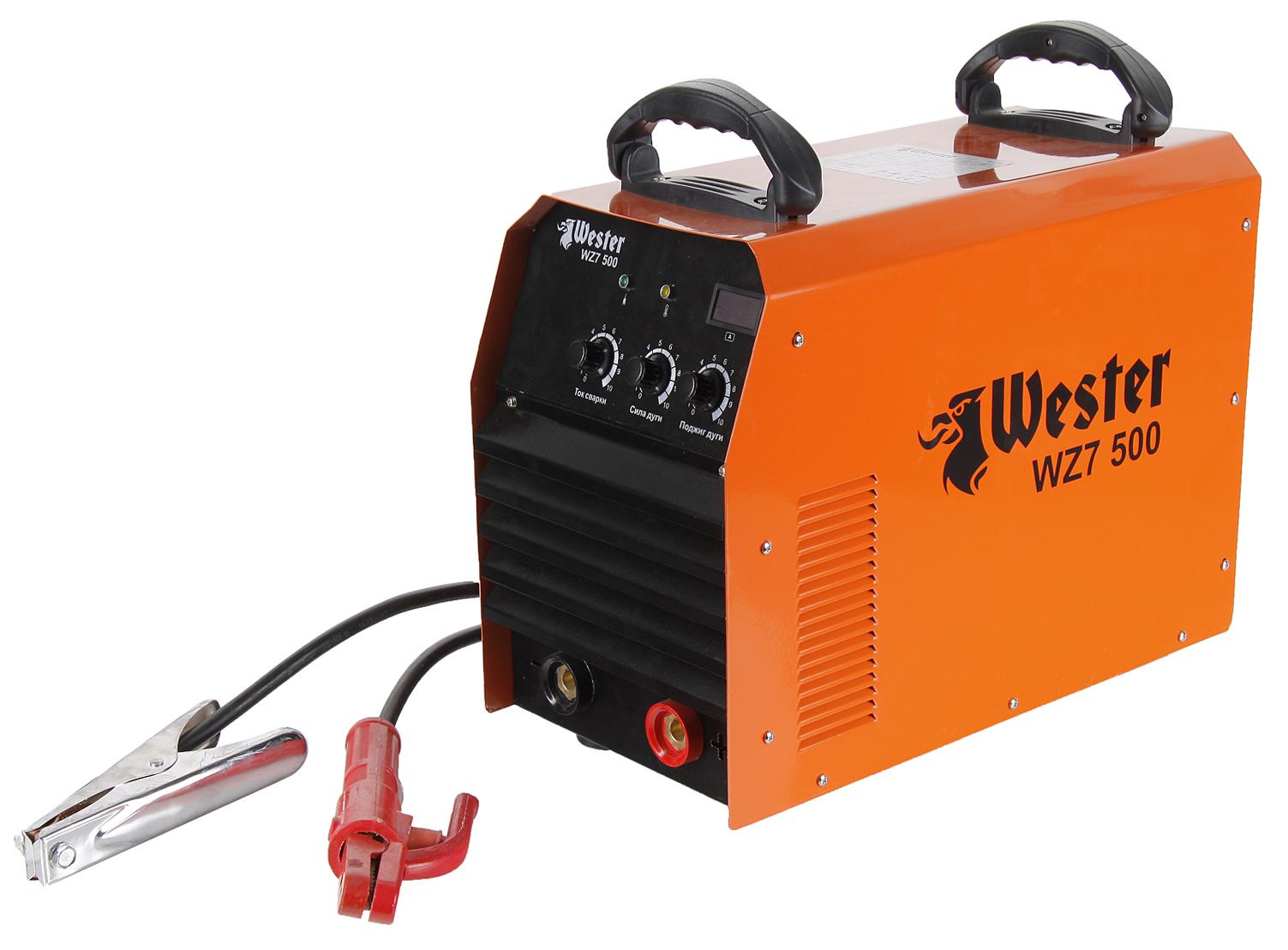 Сварочный инвертор WesterСварочное оборудование<br>Макс. сварочный ток: 500,<br>Мощность: 23700,<br>Мощность полная: 24000,<br>Напряжение: 380,<br>Мин. входное напряжение: 342,<br>Выходной ток: 50-500,<br>Напряжение холостого хода: 67,<br>Потребляемый ток: 28,<br>Мин. диаметр электрода: 2,<br>Макс. диаметр электрода: 6,<br>Тип сварочного аппарата: инверторный,<br>Тип сварки: дуговая (электродом, MMA),<br>Инверторная технология: есть,<br>Поставляется в: коробке,<br>Вес нетто: 20.5,<br>Страна происхождения: КНР,<br>Гарантия на модель: 36<br>