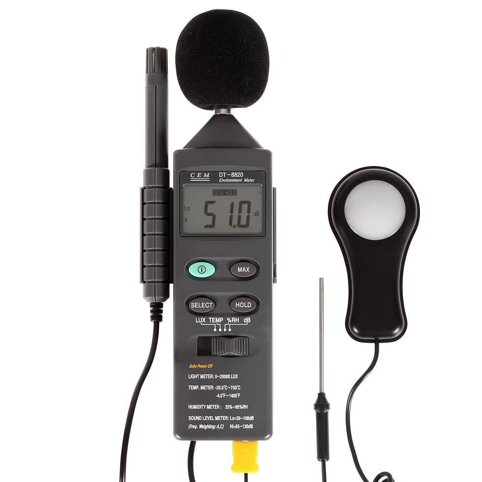 Фото 2/3 DT-8820, Многофункциональный тестер окружающей среды 4 в 1 (освещенность, температура, влажность, шум)