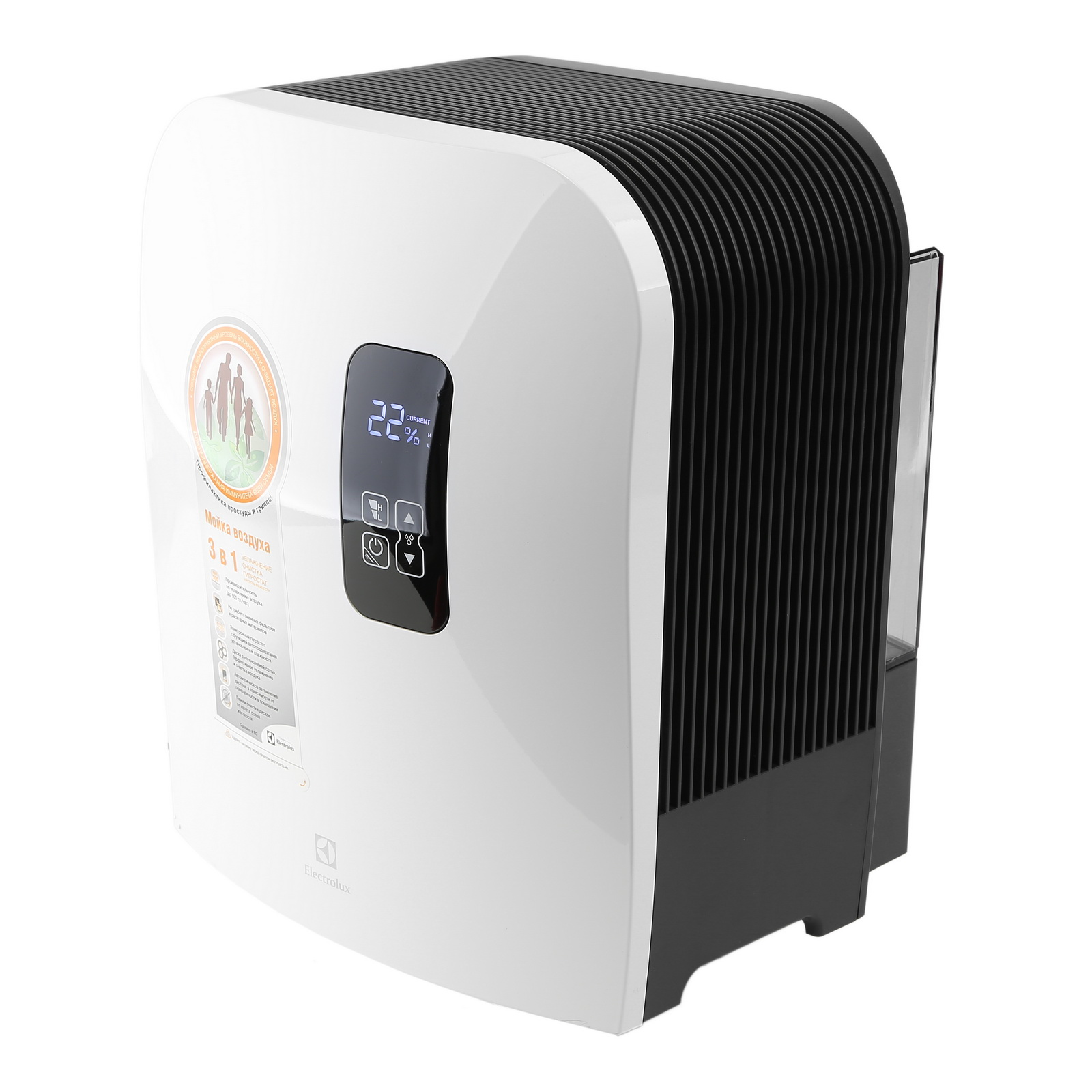 Мойка воздуха с ионизацией ElectroluxВоздухоочистители<br>Тип установки: напольный,<br>Мощность: 18,<br>Количество режимов: 2,<br>Производительность (м3/ч): 500,<br>Напряжение: 220,<br>Помещение: 50,<br>Объем ресивера: 7,<br>Ионизация: есть,<br>Увлажнение: есть,<br>Тип фильтра: водяной,<br>Без сменных фильтров: есть,<br>Датчик загрязнения воздуха: нет,<br>Таймер: нет,<br>Пульт ДУ: нет<br>